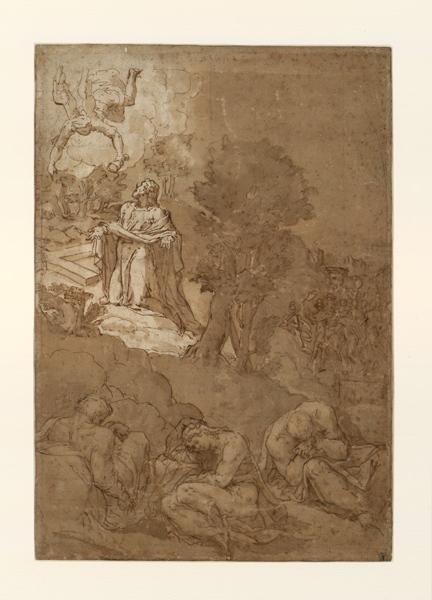 MINGA Andrea di Marietto del (dessinateur) : Le Christ au Mont des Oliviers