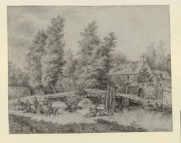 HUET Jean-Baptiste (dessinateur) : Paysage avec un pont, des lavandières et des pêcheurs