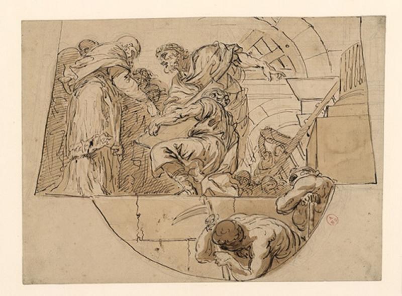 Saint Grégoire fait construire l'église Saint-Pierre de Rome ; Etude pour la coupole de la chapelle Saint-Grégoire des Invalides (autre titre) ; Construction d'un temple (autre titre)