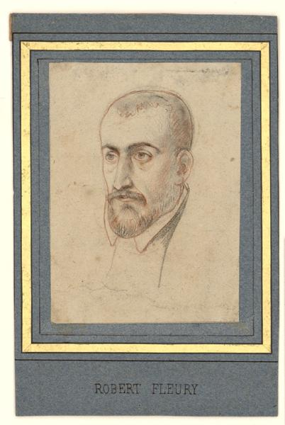 ROBERT-FLEURY Joseph Nicolas (dessinateur) : Portrait d'homme de trois-quarts