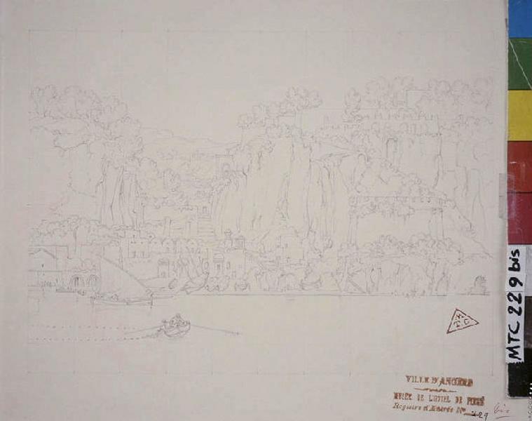 TURPIN DE CRISSE Lancelot Théodore Comte de (dessinateur) : Vue d'un petit port de Sorrento