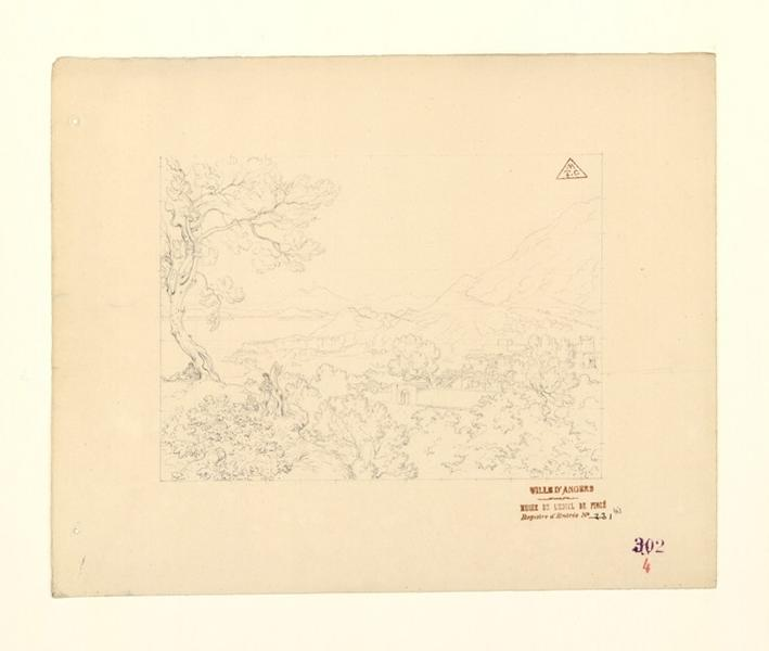 TURPIN DE CRISSE Lancelot Théodore Comte de (dessinateur) : Paysage du golfe de Naples, Paysage avec trois personnages près d'un arbre sur la gauche (autre titre)