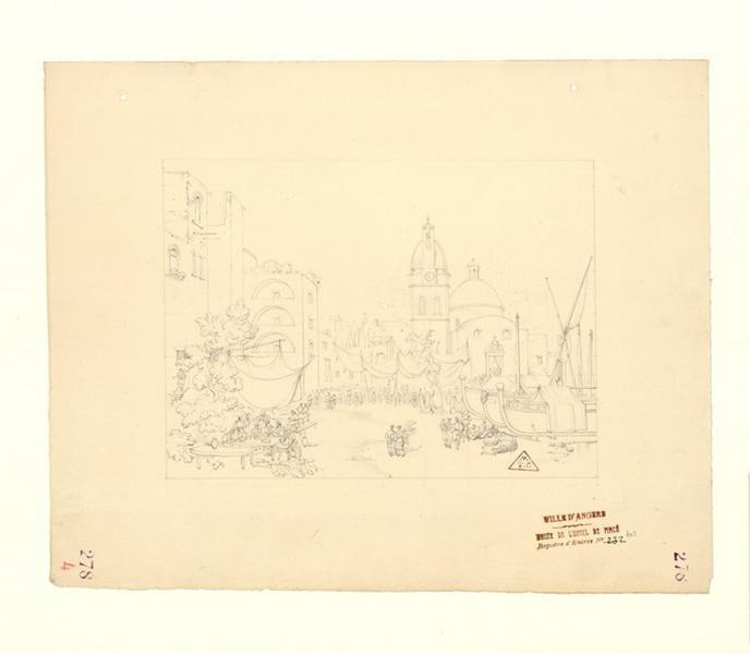 TURPIN DE CRISSE Lancelot Théodore Comte de (dessinateur) : Place à Venise, Port et église d'un village