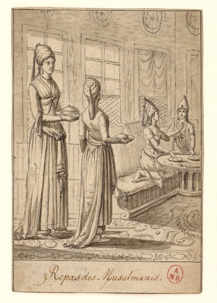 MOURADGEA D'OHSSON Ignace (dessinateur) : Repas de musulmanes
