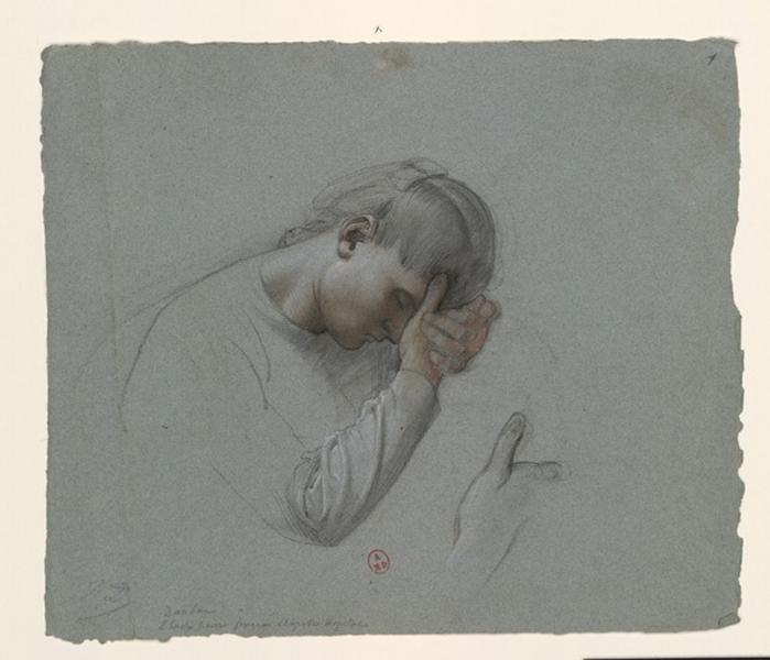 DAUBAN Jules Joseph (dessinateur) : Figure de femme drapée