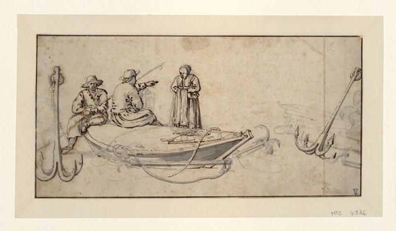 Pêcheurs au repos sur une barque échouée_0