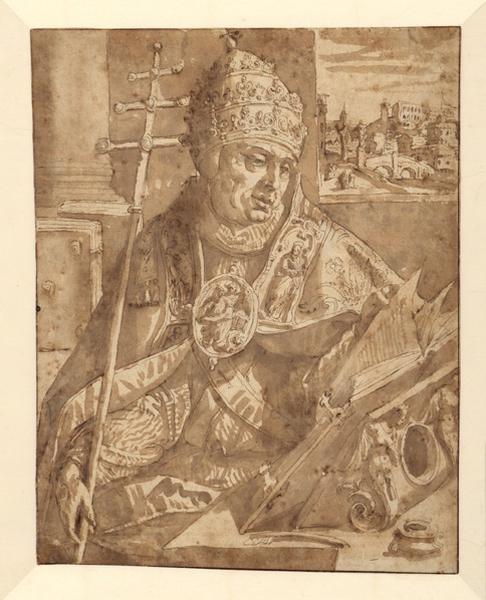 Saint Grégoire le Grand ; Un Pape coiffé de la tiare et revêtu des ornements pontificaux (ancien titre)_0