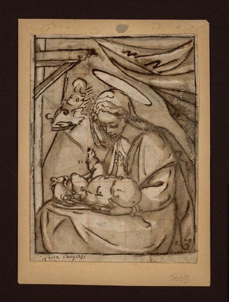 Vierge à l'Enfant ; La Sainte Vierge tenant l'enfant divin couché sur ses genoux (autre titre)