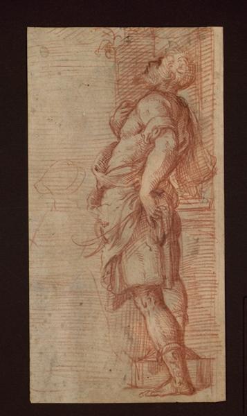 CAMPI Giulio (dessinateur) : Etude pour saint Chrysanthus, Un homme debout (D'après K. Sauvignon)