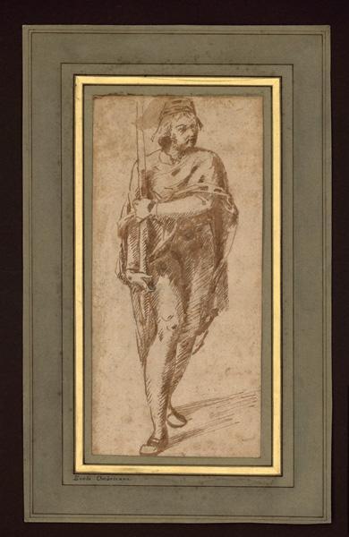 Jeune homme portant la hampe d'un étendard_0