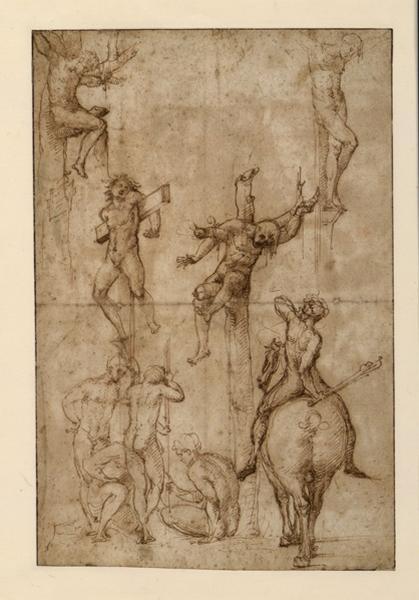 VITI Timoteo (dessinateur), PENNI Giovanni Francesco (dessinateur) : Feuille d'étude : Crucifixion