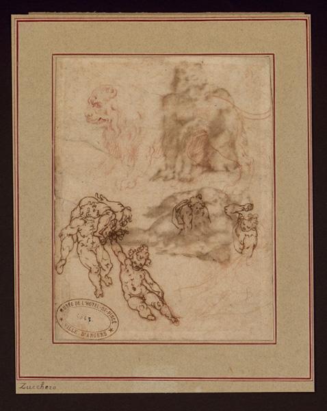 Etudes d'anges (Double face au verso l=étude de deux hommes d'après Michel-Ange) ; Lion (Double face au verso l=étude de deux hommes d'après Michel-Ange)_0
