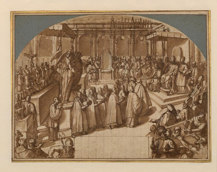 La canonisation de saint Charles ; Un pape présidant une assemblée de cardinaux (ancien titre)