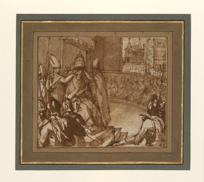 RICCI Giovanni Battista (?, dessinateur) : Couronnement d'un pape, Couronnement du pape Clément VIII (autre titre)