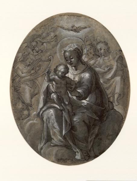 FREISINGER Caspar (dessinateur) : Vierge à l'Enfant, La sainte Vierge tenant l'Enfant bénissant (ancien titre)