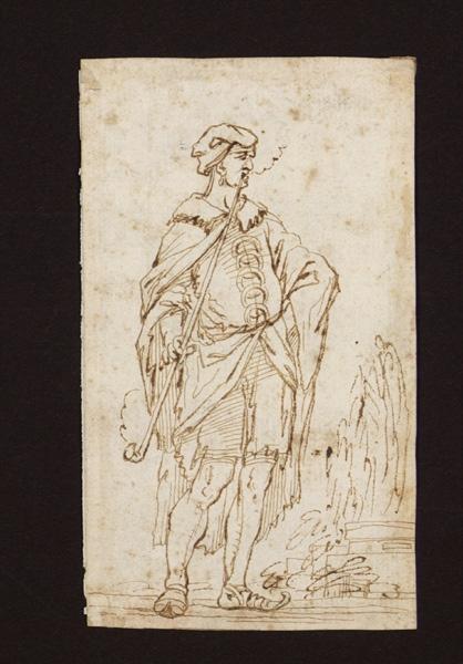 DELLA BELLA Stefano (dessinateur) : Fumeur, au verso, étude d'un homme de dos