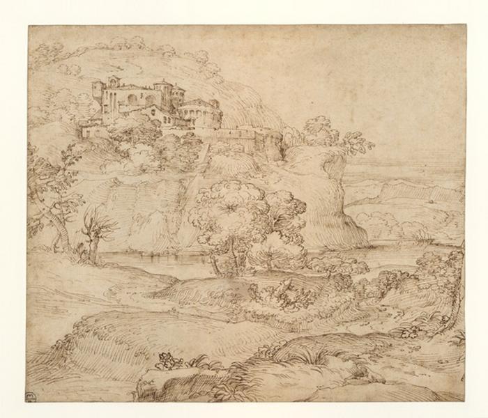 GRIMALDI Giovanni Francesco (dessinateur) : Paysage avec un château sur un rocher escarpé surplombant une rivière