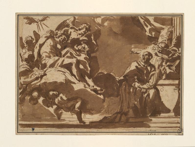 MARATTA Carlo (dessinateur) : L'apparition du Christ à saint Charles Borromée