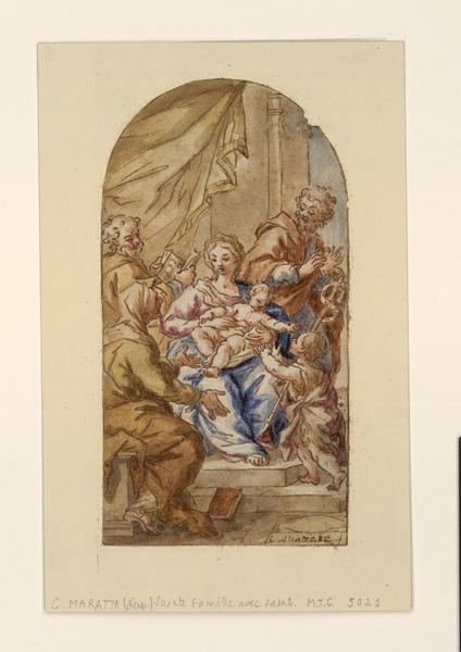 anonyme, (dessinateur), MARATTA Carlo (d'après) : La Vierge et l'Enfant, La Vierge, l'Enfant et saint Jean entourés des docteurs (autre titre)
