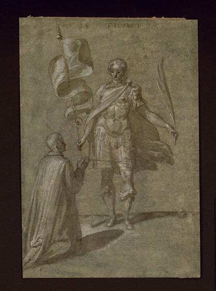 anonyme : Religieux à genoux, Religieux à genoux devant saint Michel ? (autre titre)