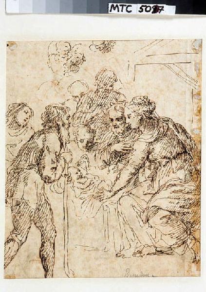 BENEDETTI Giuseppe (dessinateur) : Adoration de l'enfant (au verso), Sainte famille avec saint Jean-Baptiste (au recto)