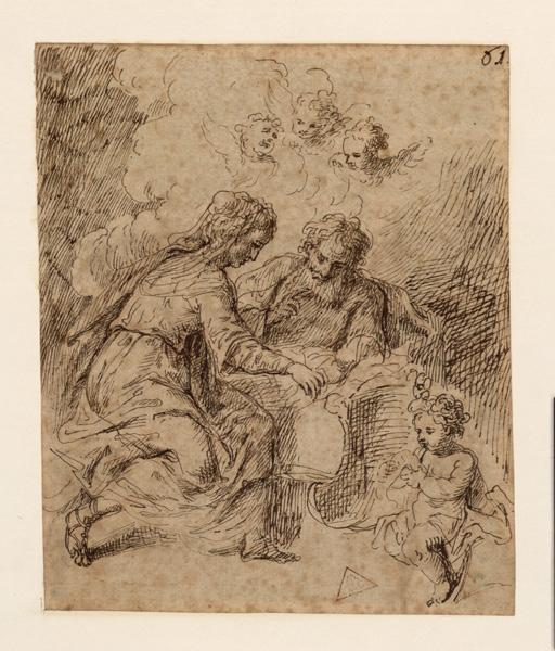 Adoration de l'enfant (au verso) ; Sainte famille avec saint Jean-Baptiste (au recto)_0