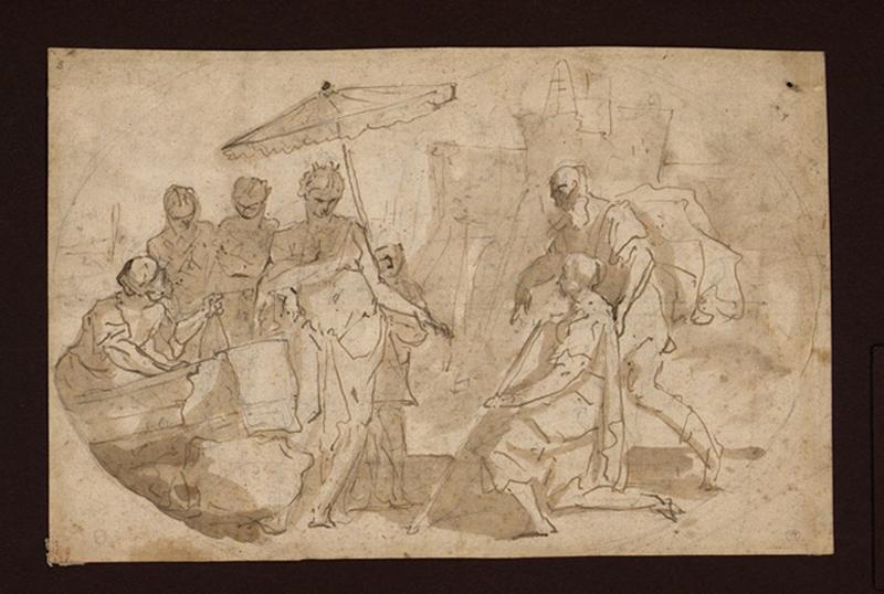 Didon faisant construire Carthage ; Des personnages expliquent à une grande dame, des plans d'architecture (ancien titre)_0