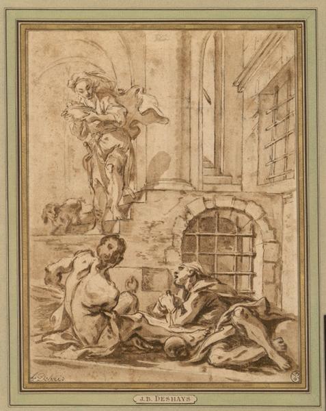 La visite aux prisonniers ; Un des sept actes de la Charité (autre titre) ; Deux prisonniers couchés dans un cachot (autre titre) ; Un geolier apporte la nourriture à 2 prissonniers (autre titre)