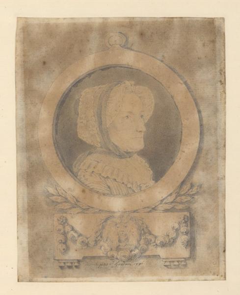 HOUDAN Jean (dessinateur) : Deux portraits, femme