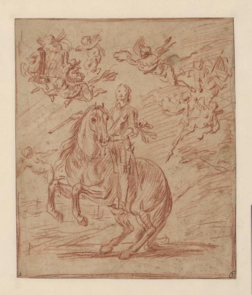 PARROCEL Charles (dessinateur) : Portrait équestre d'un maréchal, Esquisse d'un portrait de maréchal de France (ancien titre)