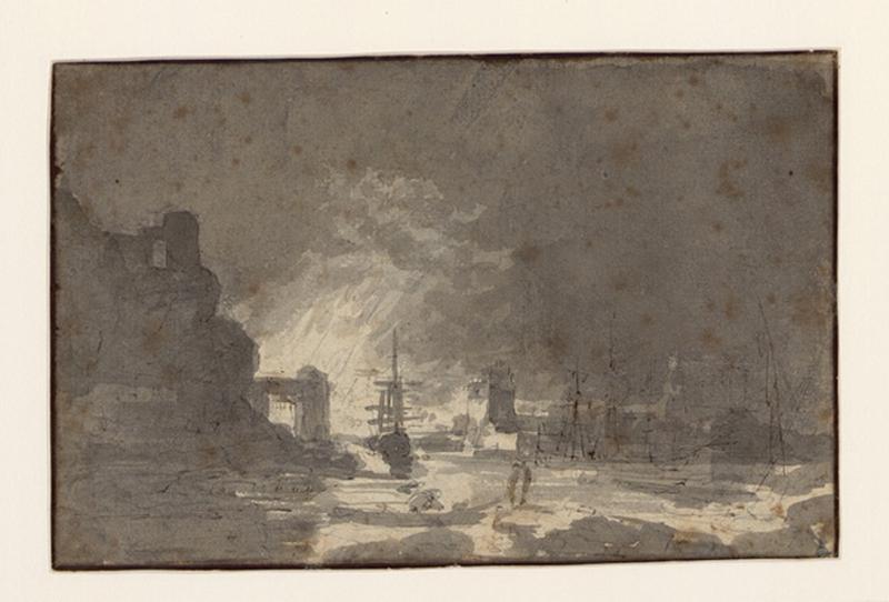 VERNET Claude Joseph (suiveur) : Incendie nocturne dans un port (recto), Construction dans un fort (verso), Entrée d'un port, lever de soleil (ancien titre)