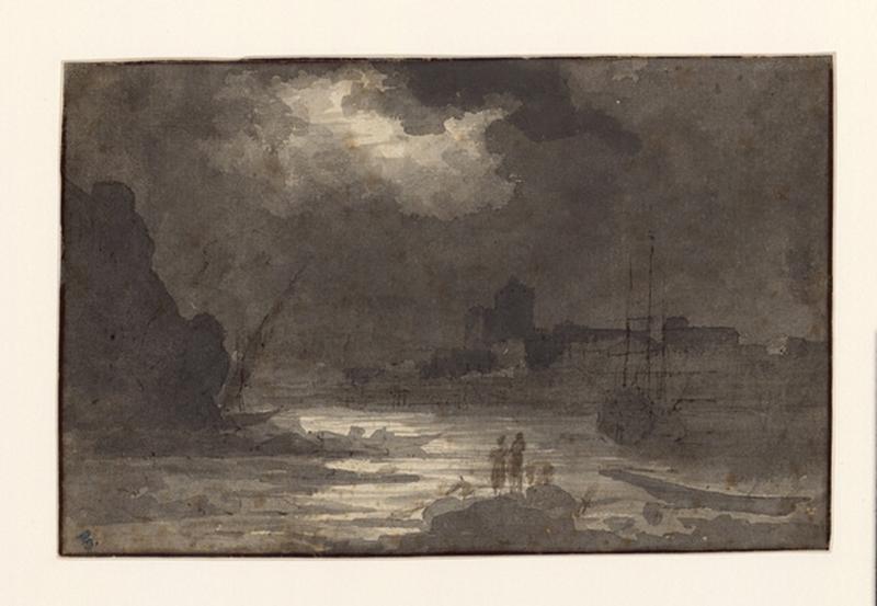 VERNET Claude Joseph (suiveur), VALOTAIRE P J (dessinateur) : Un port de mer au clair de lune (verso), Entrée d'un fort (recto)
