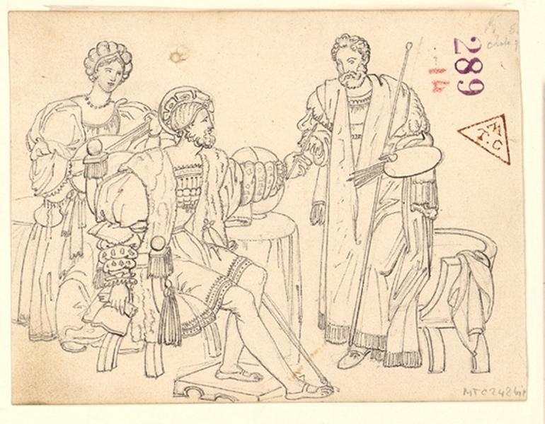 Etude de personnages en costumes ; François Ier et Léonard de Vinci_0
