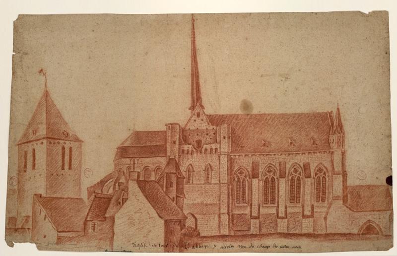 DELUSSE Jean-Jacques (dessinateur) : Eglise et tour de l'abbaye Saint-Nicolas, vue du champ du même nom.