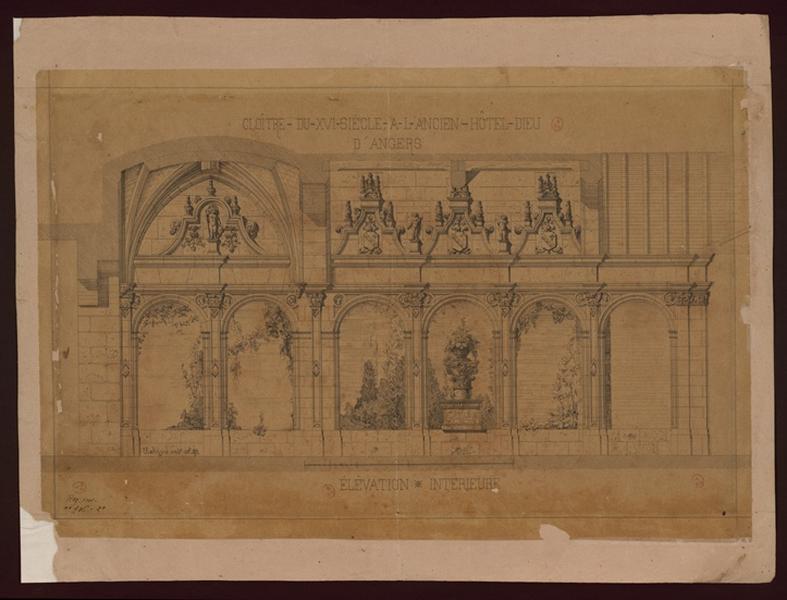 JOYAU U (dessinateur, architecte) : Cloître du XVIe siècle à l'ancien hôtel-Dieu d'Angers