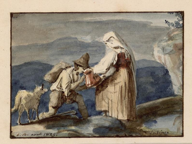 BODINIER Guillaume (dessinateur) : Femme et berger près d'une source