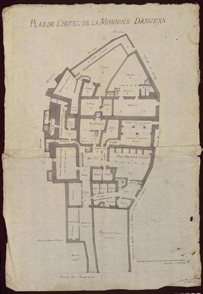 anonyme (dessinateur) : Plan de l'hôtel de la Monnois (sic) d'Angers