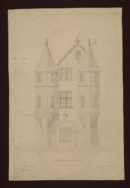 MAILLARD Auguste Alfred (dessinateur, architecte) : Le châtelet, façade est