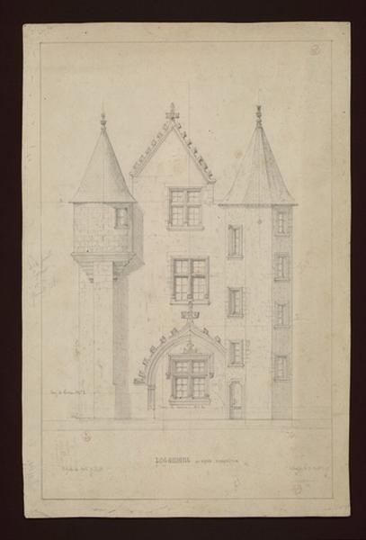 MAILLARD Auguste Alfred (dessinateur, architecte) : Le châtelet, façade ouest