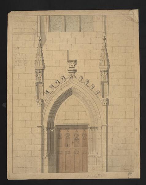 Château d'Angers, chapelle, porte d'entrée, état actuel