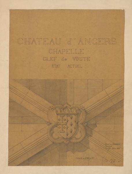 MAILLARD Auguste Alfred (architecte) : Château d'Angers, chapelle, clef de voûte, état actuel
