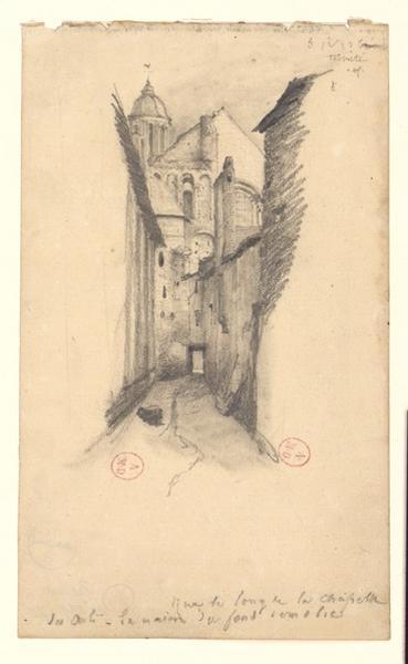 anonyme (dessinateur) : Rue le long de la chapelle des Arts (Chapelle des Arts [et Métiers] = abbatiale du Ronceray)