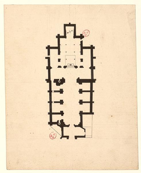 anonyme (dessinateur) : Plan de l'abbatiale Saint-Serge (Titre factice)