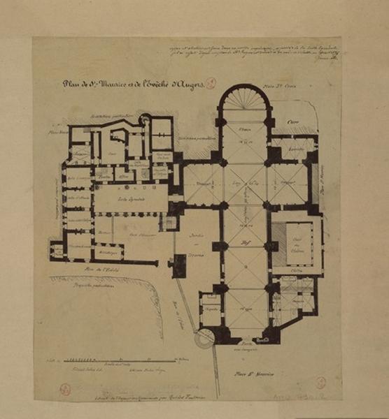 GOUIN André (dessinateur) : Plan de Saint-Maurice et de l'évêché d'Angers
