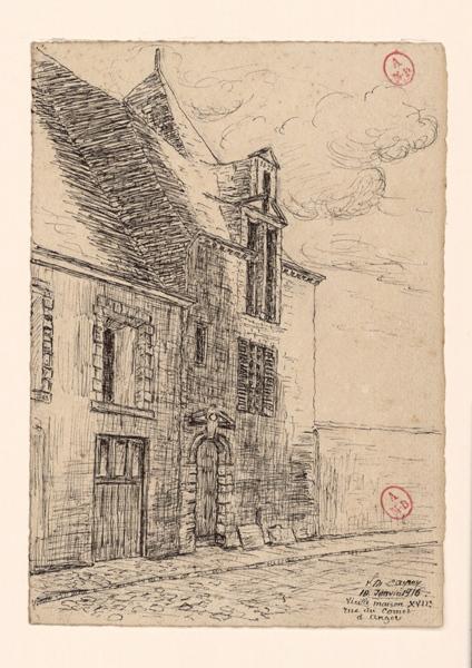 CAYRON Louis Maurice (dessinateur) : Vieille maison XVIIe rue du Cornet à Angers