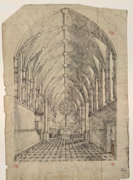 DONAS ROCH Jean-Baptiste (dessinateur) : Coupe intérieure et perspective de l'église abbatiale de Toussaints (sic) par Donas 1821