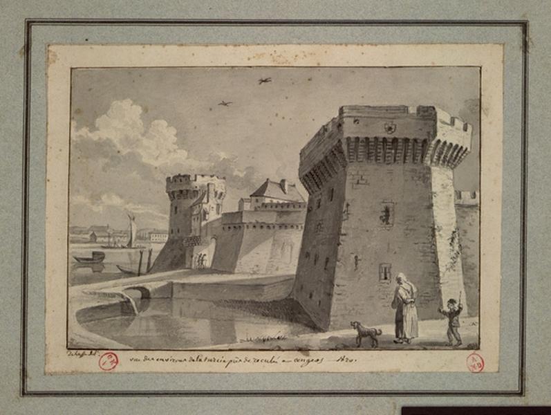 DELUSSE Jean-Jacques (dessinateur) : Vue des environs de la Turcie près de Reculée à Angers - 1820