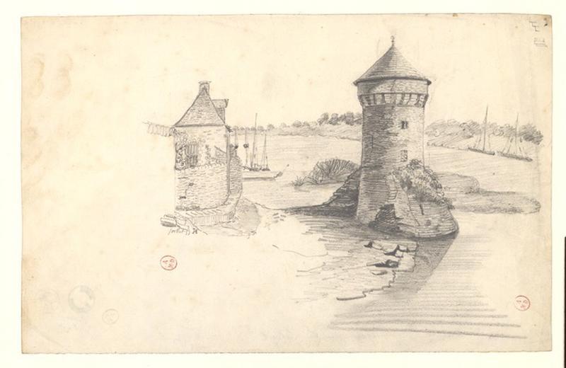 MICHEL Auguste Père (dessinateur) : Tour de la Haute-Chaîne depuis la rive droite, en aval (Titre de C. Labalte)
