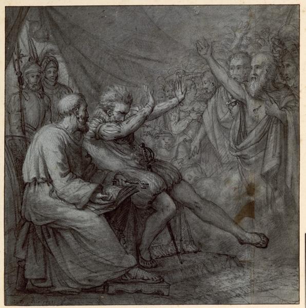 BODINIER Guillaume (dessinateur) : Un personnage princier semble écrasé sous la malédiction ou sous les accusations d'un groupe de personnage (Sujet non identifié)