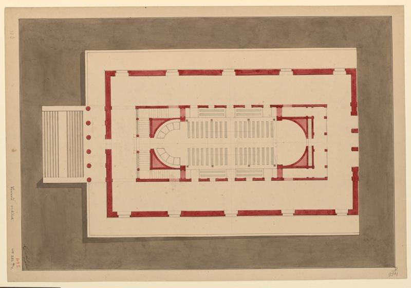 VISCONTI Louis Tullius Joachim (dessinateur, architecte) : Etudes d'architecture